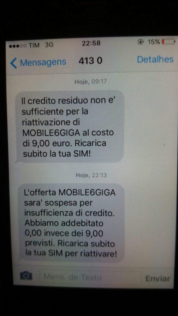 Sms tiscali mobile credito