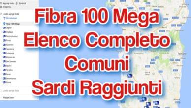 Sardegna Fibra 100 mega elenco completo comuni sardi raggiunti